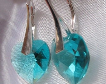 925 Solid Sterling Silver Leverback Swarovski Xilion Heart Crystal Earrings - Blue Zircon December Birthstone