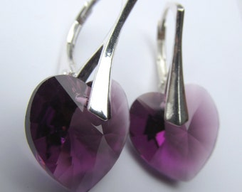 925 Solid Sterling Silver Leverback Swarovski Xilion Heart Crystal Earrings - Amethyst Purple February Birthstone
