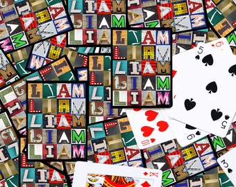 Personalized Playing Cards featuring the name LIAM in letters from photos of actual signs; Deck of cards; Poker; Playing card