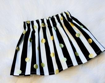 Black & White Stripe Skirt w/ Gold Dots - You Choose Size