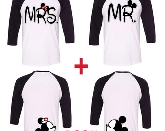 Mr and Mrs with Mickey and Minnnie kissing in the back couples baseball tees~ couples matching baseball tees, mr and mrs, wedding gift