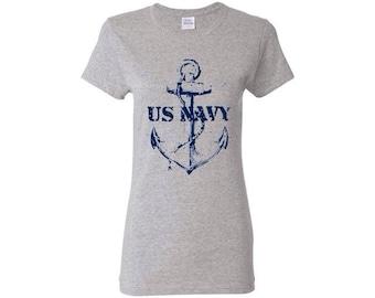 US navy ladies tee, anchor ladies tee, millitary support tee, US navy tee