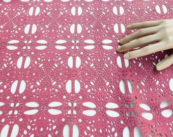 Laser Cut Leather Lambskin Hide in Pink 6 Square Feet Rare Intricate Design  LMS00027