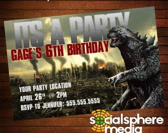 Godzilla Birthday Party Invitation