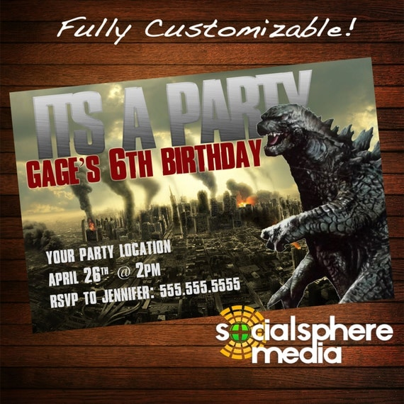 Godzilla Birthday Party Invitation