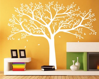 White Tree Wall Decal Nursery-Vinyl LargeTree Murals For Living Room Decor-Vinal Tree Decals With Flying Brid -Nature Tree Wall Decal29032