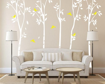 White Birch Tree Wall Decal Nursery-White Tree Wall Decal-Vinyl Large Tree Decals Wall Murals-Set of 5 Tree Birds Wall Decal for Room 36460