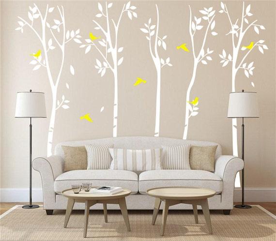 White birch tree wall decal nursery white tree by for Birch tree mural nursery