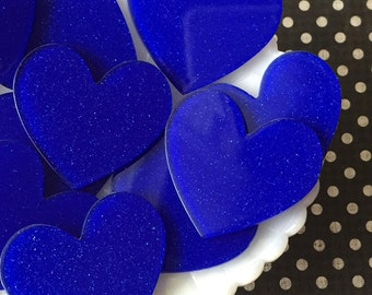 Heart Cabochons - Glitter laser cut heart acrylic cabochons - pick your amount