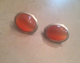 Vintage Orange Lucite Earrings Costume Jewelry