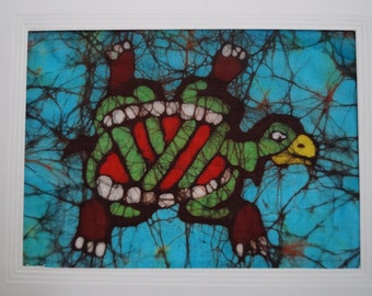 Batik card of a Mayan turtle