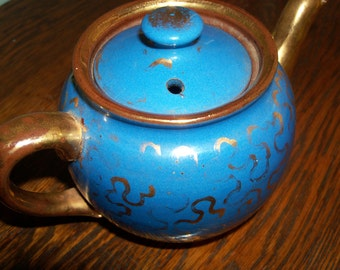 Hand Painted Sadler Staffordshire Teapot /Blue and Gold