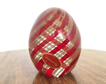 Vintage Murano Red & Gold Stripe Paperweight  1960s Italian