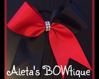 Red and Black tic tock cheer bow!