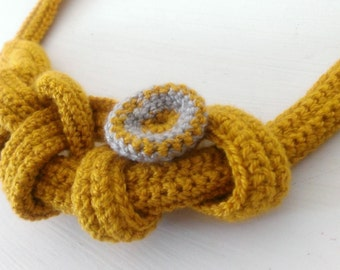 Yellow crochet necklace