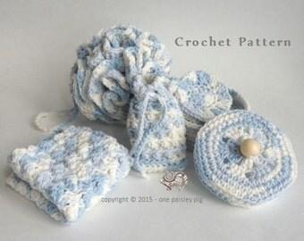 Luxury Spa Gift Set  - 5 piece Crochet Package  - Instant Download CROCHET PATTERN