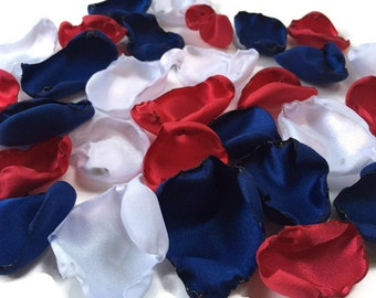 Red White and Blue flower petals, red white and blue rose petals, flower girl petals, baby shower decor, bridal shower decor