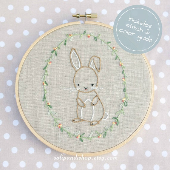 Little Bunny Hand Embroidery PDF Pattern - Instand Digital Download