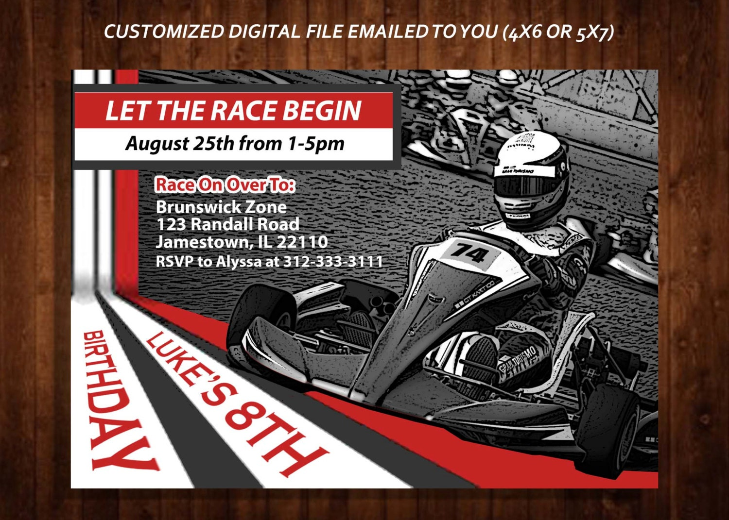 racing invitation racing themed birthday party invitation gokart party invitation kids gokart race car party custom digital file diy print