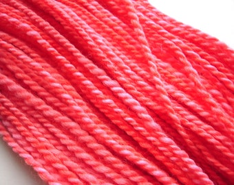 Coral--Hand Spun Hand Dyed Finn Wool, 2 ply, 4.6 oz, 141 yards