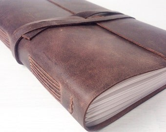 Leather sketchbook, a5 travel journal, handbound blank book, rustic brown leather journal, personalized monogram optional, Christmas gift