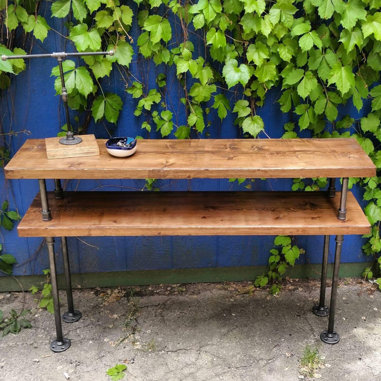 Industrial Style Steel Pipe Pine Wood Tables Desks A: Industrial Steel And Wood TV Stand Rustic Steel Pipe Wood