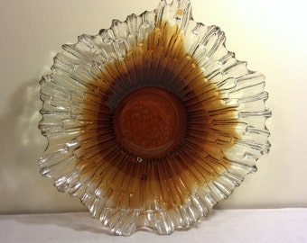 Filand, Danish modern vintage crystal plate dish tray 1970's Humppla