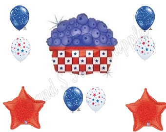 BLUEBERRIES 4th of July Balloons Decoration Supplies Picnic Cookout Patriotic