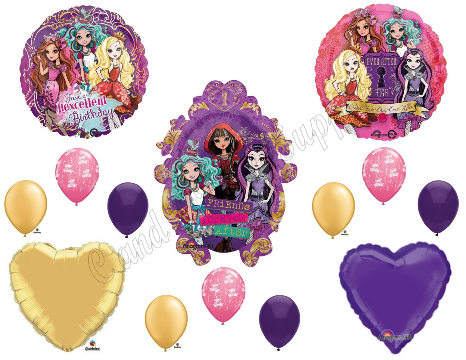 Ever after high happy birthday balloons decoration supplies for Balloon decoration kits