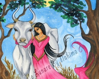 Mother - Sacred Cow - Mother Moon - India - Print Original watercolor