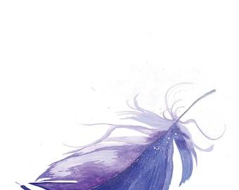 Purple feather. Fine art print. Wall art. Affordable art. Purple. Feather. Interior. Home decor. Starkeys Lane. Beautiful art print.