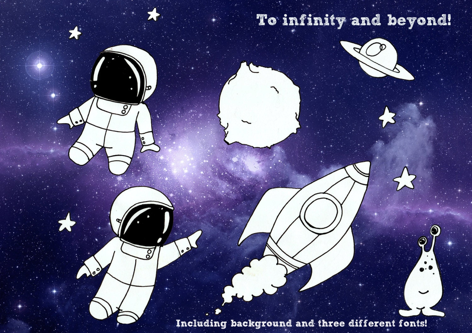 galaxy clipart space astronaut rocket kids birthday party