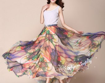 60 Colors Chiffon Skirt Long Maxi Sundress Beachdress Holiday Dress Women Summer Pleat Dress Beach Skirt Plus Size Dresses 13 color Y019