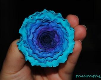 Ranunculus polymer clay brooch
