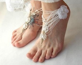 Barefoot Sandals, White Wedding Sandals, Ostrich Feather Detail, Handmade, Hemp Pearls, Beach Wedding Shoes, Toe Thong, Boudoir Photo Shoot