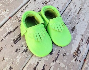 SOUR APPLE Leather Baby Toddler Moccasins Moccs
