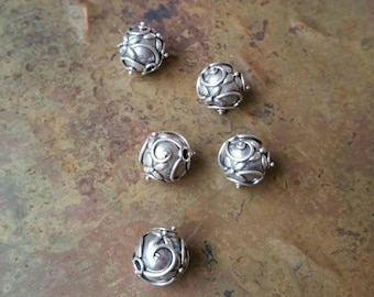 5 Intricate hand made antique silver Bali beads 10mm. 925 sterling  silver #1900