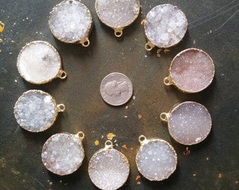 White Gray Druzy Circle Pendant- 22k gold- plated electroform 30mm Drusy  #1026
