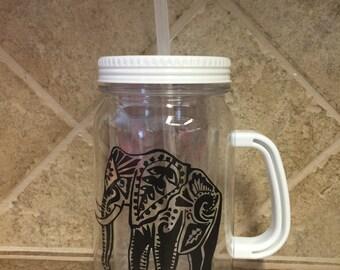 Tribal Elephant Mason Jar Staw Cup