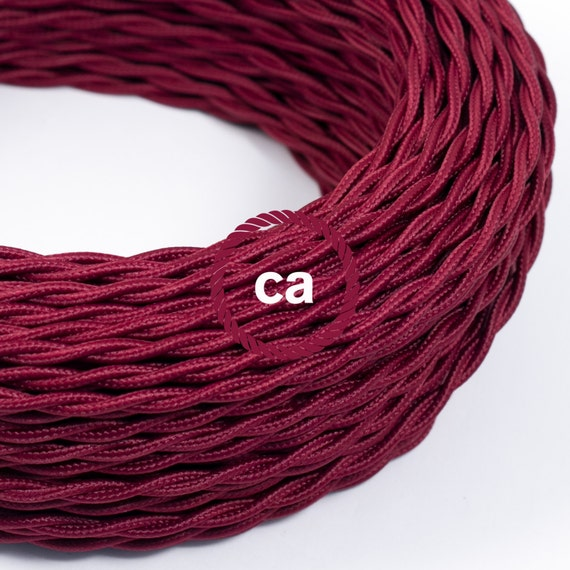 burgundy twisted cloth covered wire vintage by