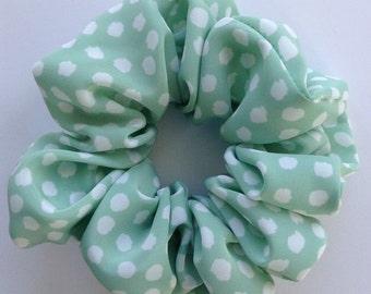 Mint Green & White Dotty Hair Scrunchie