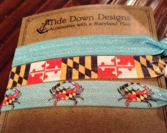 Maryland Flag & Crab Elastic Hair Ties 3 pk