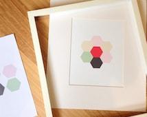 Geometric Hexagon Flower Wall Print, Home Decor, Customised Home Art, Nursery Wall Print