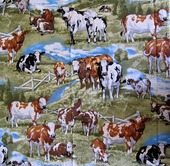 Large Dairy Cow Print Cotton Quilting Fabric By Timeless
