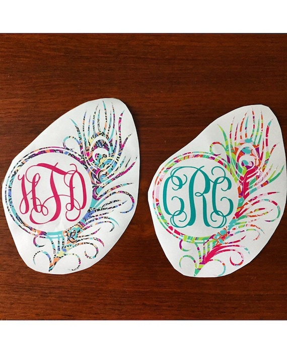 Lilly Pulitzer Monogram Peacock Feather Car Decal