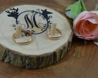 Wedding Ring Box, Deer OLD Wood Ring Pillow
