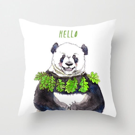 Panda pillow case panda home decor bear drawing 16x16 by for Panda bear decor