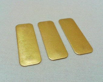 15 Pcs Raw Brass 10 x 30 mm Rectangular No  Hole Connectors -thickness 0.40 mm 25 Gauge