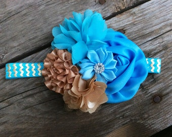Turquoise/Teal/Gold Shabby Floral Headband