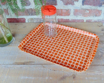 Set of tray and pitcher orange vintage